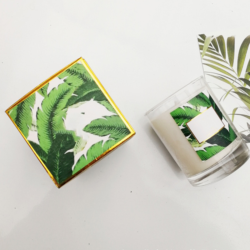 Own brand customized private label OEM ODM glass scented soy candle wholesaler with fresh leaf packaging