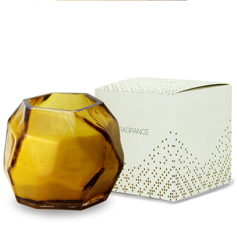 Wholesale private label customized luxury Irregular shaped glass scented candle with different sizes and colors