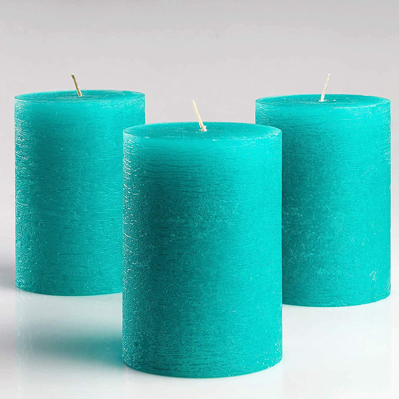 Own brand packaging customized wholesale pillar candle with different sizes and colors for home decor