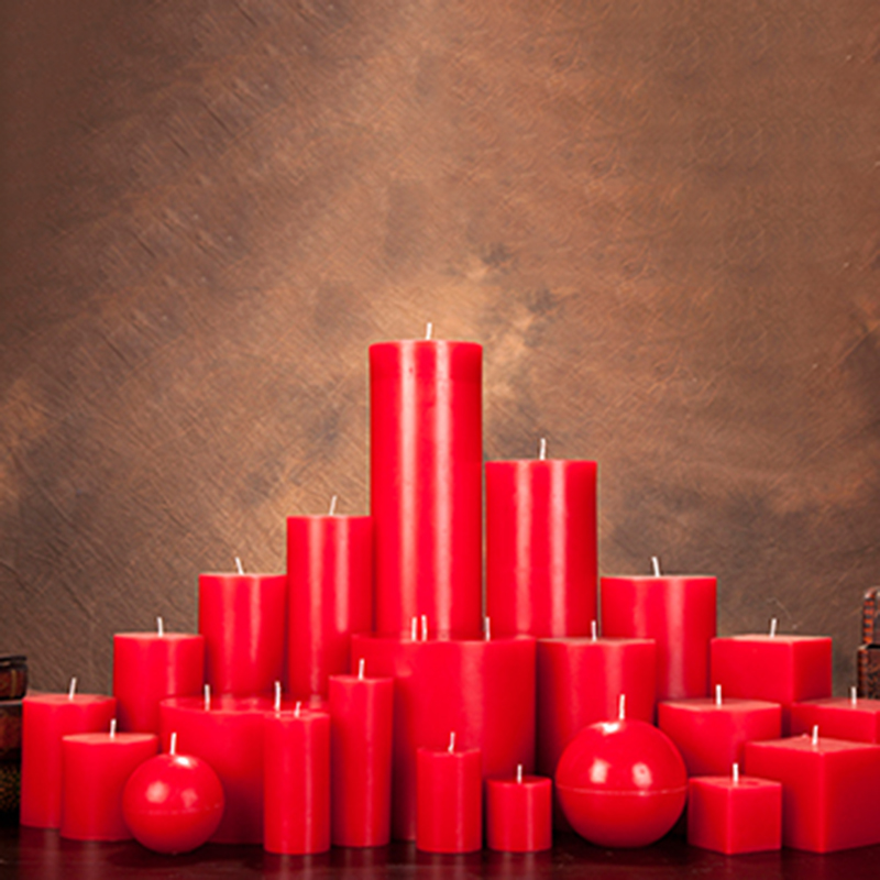 Wholesale personalize label and design hot selling red pillar candles with different sizes and shapes