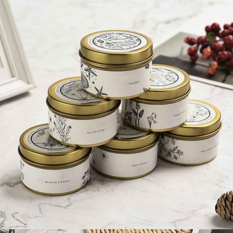 Wholesale candle company golden scented travel candle tin with personalized design and label