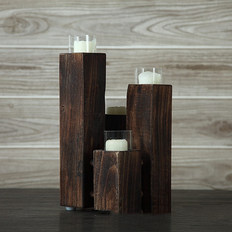 Free sample supply customized wholesale wooden candle holders with different sizes and shapes for home decor